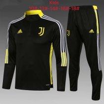 Kids Juventus Training Suit Black - Yellow 2021/22