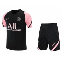Mens PSG Short Training Suit Black - Pink 2021/22