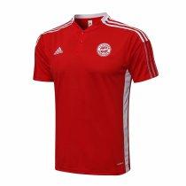 Mens Bayern Munich Polo Shirt Red Stripes 2021/22