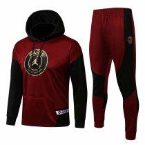 Mens PSG x JORDAN Hoodie Sweatshirt + Pants Suit Burgundy 2021/22