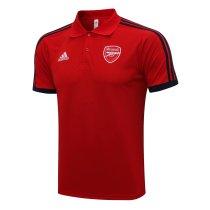 Mens Arsenal Polo Shirt Red - Black Stripes 2021/22