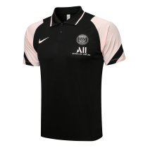Mens PSG Polo Shirt Black - Pink 2021/22