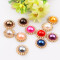 10Pieces   14mm Round Pearl Button Brass 21mm Gold Metal
