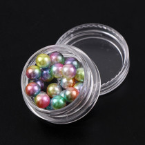 2017 Japan Fashion 6mm Round Beads Gradient Mermaids Colorful Imitation Pearls 1 Box Shiny 3D Nail Art Manicure Decorations