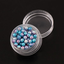 2017 Japan Fashion 5mm Round Beads Gradient Mermaids Colorful Imitation Pearls 1 Box Shiny 3D Nail Art Manicure Decorations