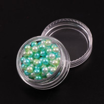 2017 Japan Fashion 4mm Round Beads Gradient Mermaids Colorful Imitation Pearls 1 Box Shiny 3D Nail Art Manicure Decorations