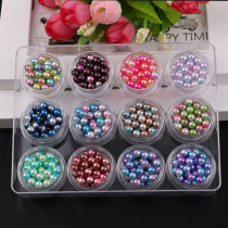 2017 Japanese Style 12 Colors 6mm Gradient Mermaids Colorful Imitation Pearls 1 Set Shiny 3D Magic Beads Nail Art Decorations