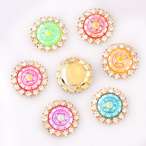 wholesale 10pcs 15x15mm Mixed AB Color Resin Round Flatback Gold Metal Rhinestone Cabochon Base Cameo Setting DIY Jewelry Charms