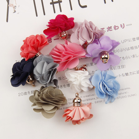 wholesale New Arrival Gold Tone Mixed Color Cloth Flower Charms Pendants Supplies Tassels DIY Jewelry Handmade Hair Accessories