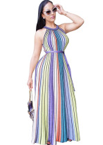 Colorful Stripes Sleeveless Dress Y004