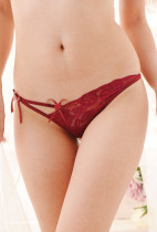 Sexy Deep Red Lace Thongs ZJ2076