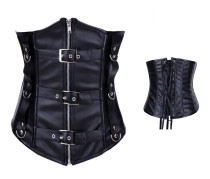 Simple black leather corsets ME9266