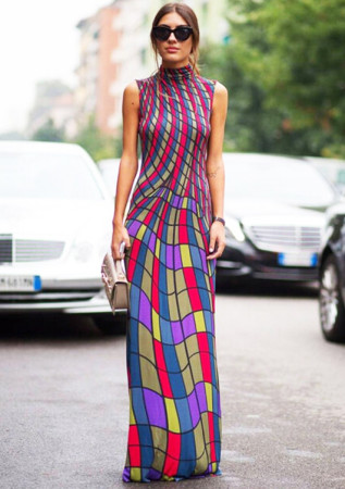 Elegant Colorfull Grid Sleeveless Long Dress W1618