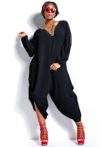 Black Stylish V-Neck Long Sleeve Cut Out Plus Size Jumpsuit YH7180