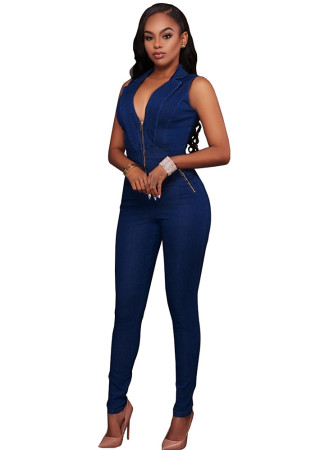 Sexy Sleeveless One-piece Slim jeans Y001