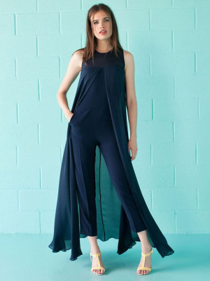 Spring Deep Blue Sleeveless Chiffon Jumpsuits & Rompers QZM238