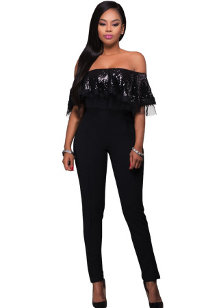 Hot Sexy Trapless Sequins Off-Shoulder Lace One-piece  Jumpsuits & Rompers G028