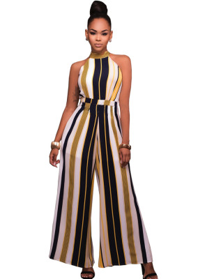 Sexy Stripes Loose With Belted Overalls Jumpsuits & Rompers G037