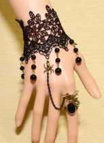 Black Lace Bracelet with Jewel Ring SF8926