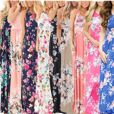 Floral Printed Long Dress NWY8291