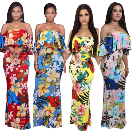 Floral Printed Off Shoulder Long Dress NWY8328