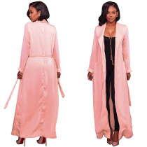 Solid Color Long Style Halter Trench Coat G063