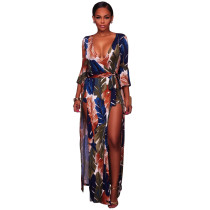 Feather Printed V-Neck Hot Jumpsuit & Rompers Y033