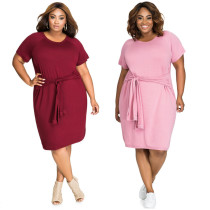 Plus Size Halter O Neck Short Sleeves Dress SJ3056