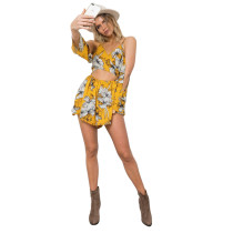 Yellow Floral Printed Sexy Dress NWY8349
