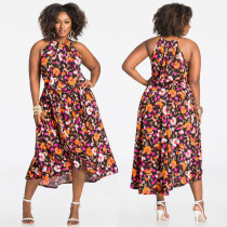 Plus Size Floral Printed One Piece Dress QJ5200