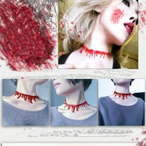 Hallowmas Frightening Simulation Blood Stain Necklace HS24*2 Pieces