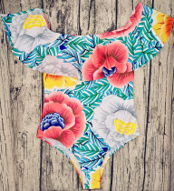 Off-Shoulder Colorful Printed One-Piece Swimsuit LR17076L