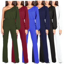 Sexy One Sleeve Fashion Jumpsuits & Ropmers WM2226