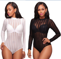Stripes Printed See-through One Piece Jumpsuits & Rompers BJ1079