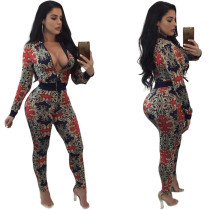 Vintage Printed Sexy Zipper Jumpsuits & Rompers QZ660