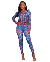 Floral Printed Long Sleeves Two Pieces Jumpsuits & Rompers DL5396