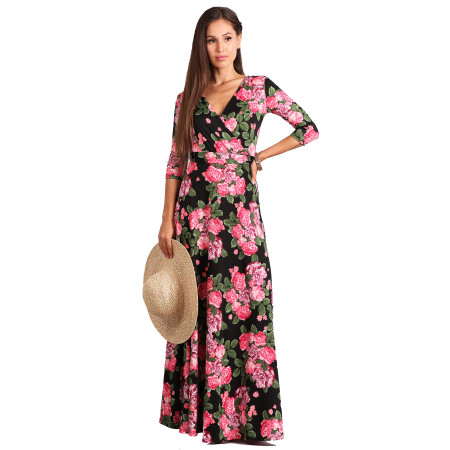 Foral Printed Halter Long Dress XY6427