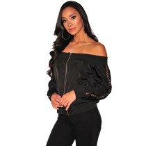 Black Long Sleeve Off Shoulder Woman Top G075