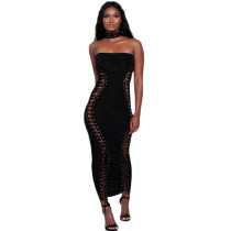 Sexy Strapeless Off Shoulder Cross Long Dress SR0519