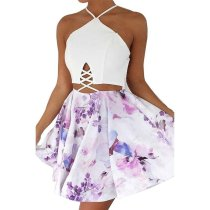 Halter Cross Backless Flower Printed Skater Dress SR0699