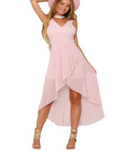 Pink Solid Color Soft Long Dress SR0263