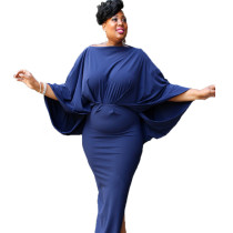 Plus Size Solid Blue Loose Long Dress SR0970