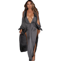 Gray Sexy V-Neck Side Split Long Dress SR0324