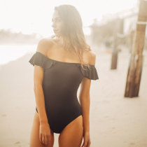 Black Solid Color Sexy One Piece Swimsuit LR1807B