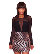 Black Sexy Paillette Bodycon Dress QJ5211