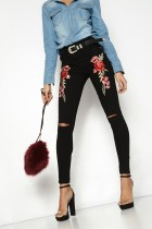 Rose Printed Sexy Jeans Pants SR0388