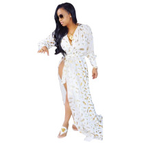 Feather Printed White Long Dress QM3072