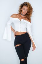 White Off Shoulder Falbala Batwing Sleeve Woman Top NWY04
