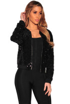Black Paillette Sexy Zipper Jacket BJ1088