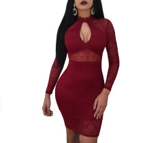 Red Sexy Lace Zipper Hollow Out Dress BJ1097